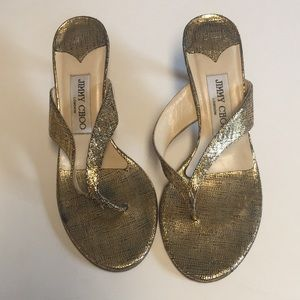 Jimmy Choo metallic gold leather thong sandal